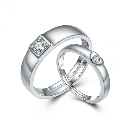S925 Sterling Silver Creative Opening Couple Rings