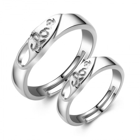 Creative Lettering 925 Sterling Silver Adjustable Opening Couple Rings