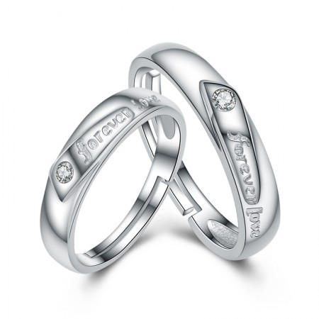 """Forever Love"" 925 Sterling Silver Inlaid Cz Couple Rings"
