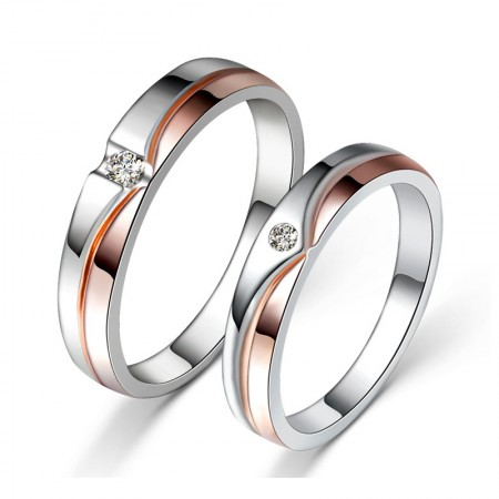 Romantic Rose Gold Plated 925 Sterling Silver Inlaid Cz Couple Rings