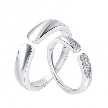 New Simple S925 Silver Inlay Cubic Zirconia Opening Couple Rings