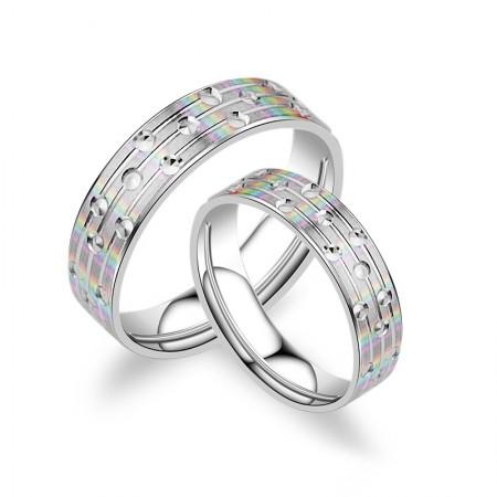 Elegant Aesthetic Creative Matte S925 Silver Lettering Couple Rings