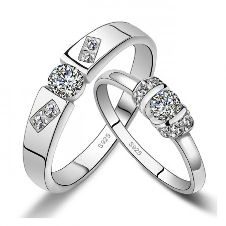 Love Life 925 Sterling Silver Inlaid Luxury Cubic Zirconia Couple Rings