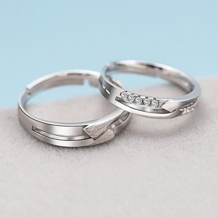 A Lifetime Of High Quality 925 Sterling Silver Inlaid Cz Couple Rings