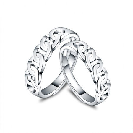 New Braided Shape 925 Sterling Silver Opening Couple Rings