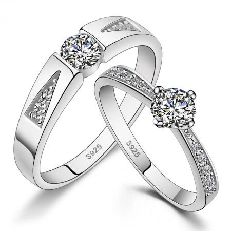 Luxurious And Elegant 925 Silver Inlay Cubic Zirconia Couple Rings