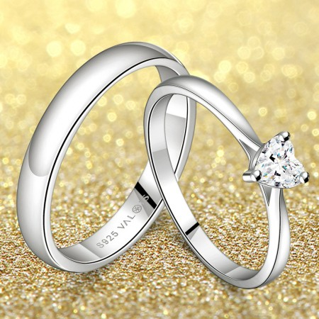 Pure And Noble Heart-Shaped 925 Sterling Silver Couple Rings