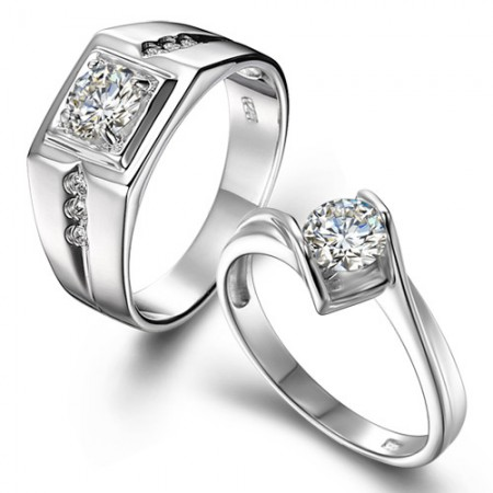 Elegant Luxury 925 Sterling Silver Plated 18K White Gold Couple Rings