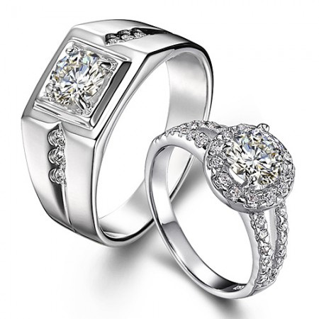 Romantic Beautiful 925 Sterling Silver-Plated 18K Gold Couple Rings