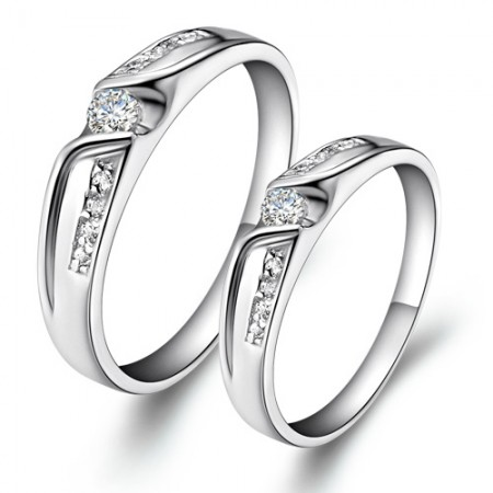 Men And Women The Same Paragraph 925 Sterling Silver-Plated 18K Gold Couple Rings