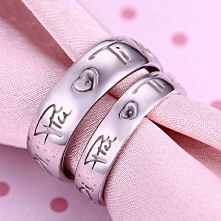 Korean Fashion 925 Sterling Silver Couple Rings