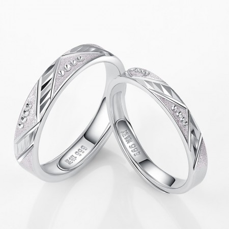 Creative Cutting 925 Sterling Silver Inlaid Cz Couple Rings