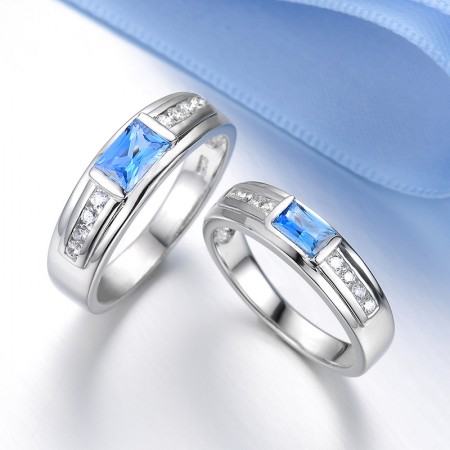S925 Sterling Silver Inlaid Shine Blue Cz Couple Rings