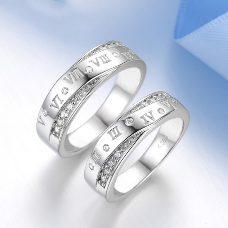 Original Design Roman Numerals S925 Silver Couple Rings
