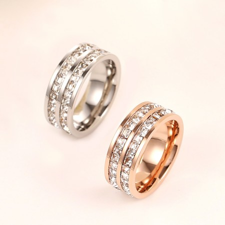 New Fashion 18K Rose Gold Plated Double-Full Of Cubic Zirconia Couple Rings