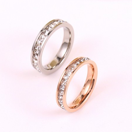 Korean Version Of The Full Cubic Zirconia Plated 18K Rose Gold Couple Rings