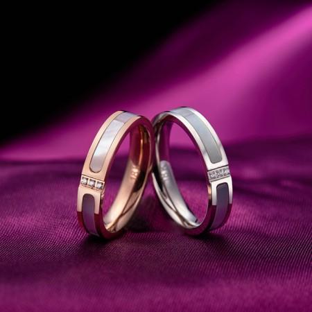Korean Simple 18K Rose Gold Plated Titanium Steel Couple Rings