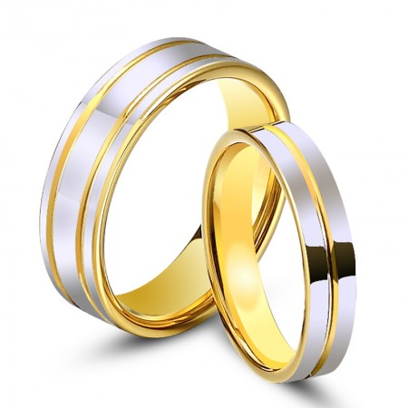 Korean Fashion 18K Gold-Plated Tungsten Couple Rings