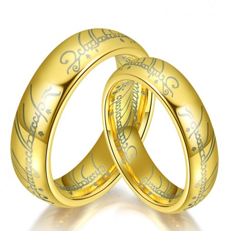 Europe And America Personality Tungsten Lettering Couple Rings