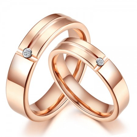 Simple And Stylish Tungsten Inlaid Single Cubic Zirconia Couple Rings