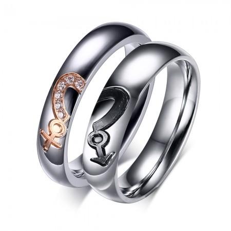 New Fashion Titanium Steel Inlaid Cubic Zirconia Couple Rings