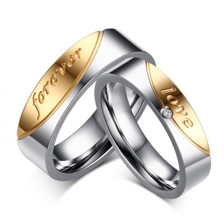 """High-End Fashion Exquisite """"Forever Love"""" Couple Rings"""