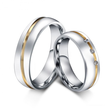 New Gold-Plated Titanium Steel Inlaid Cubic Zirconia Couple Rings