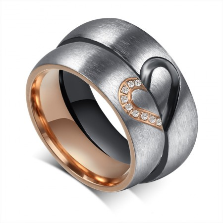 New Korean Heart-Shaped Titanium Steel Inlaid Cubic Zirconia Couple Rings