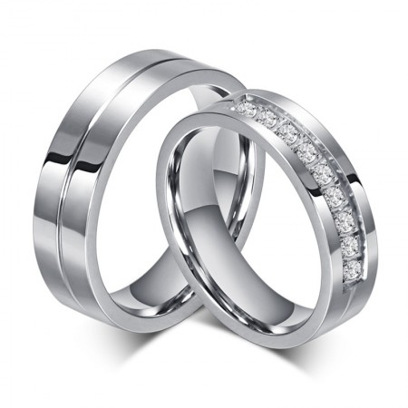 Korean New Stainless Steel Inlaid Cubic Zirconia Couple Rings
