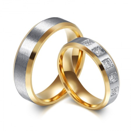 New Simple Titanium Steel Inlaid Cubic Zirconia Couple Rings
