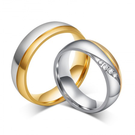 Simple Silver With Golden Titanium Steel Couple Rings