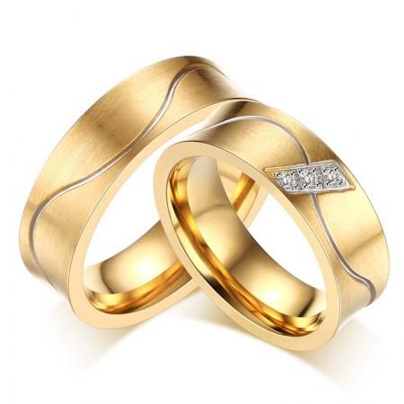 Fashion Wavy Lines Titanium Steel Couple Rings