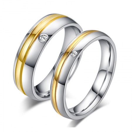 Korean Personality 18K Gold-Plated Titanium Steel Couple Rings