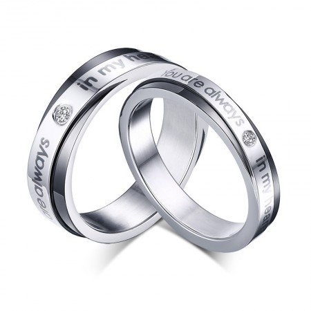 """Korean Personalized """"You Are Always In My Heart"""" Couple Rings"""