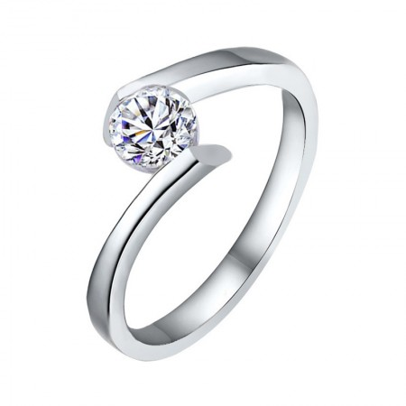 Simplicity Charming 925 Sterling Silver Inlaid CZ Engagement Ring