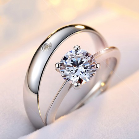 Simple Fashion Exquisite 925 Sterling Silver Inlaid Cubic Zirconia Couple Rings