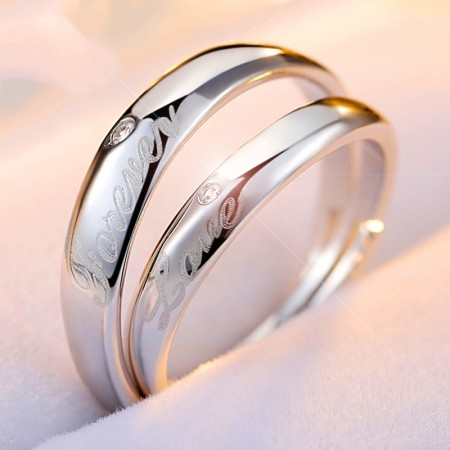"""Classic Confession """"FOREVER LOVE"""" S925 Silver Couple Rings"""