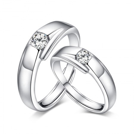 S925 Silver Platinum Plated Creative Opening Couple Rings