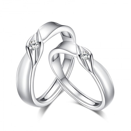 Original Design S925 Silver Lettering Opening Couple Rings