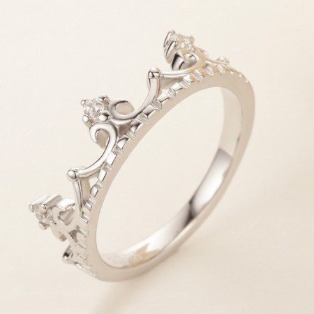 Crown Molding 925 Sterling Silver Inlaid CZ Engagement Ring