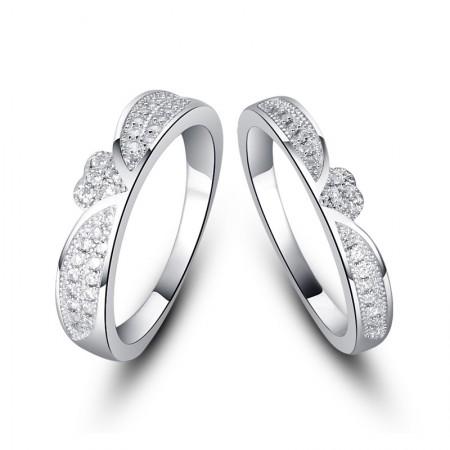 Korean Fashion 925 Sterling Silver Inlaid CZ Engagement Ring Set