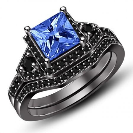 Europe New Luxury Noble Black Gold Engagement Ring
