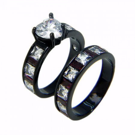 Korean Fashion Jewelry Black Gold Inlaid Heart-Shaped CZ Engagement Ring