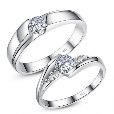 Elegant And Romantic Luxury 925 Sterling Silver Inlaid CZ Couple Rings