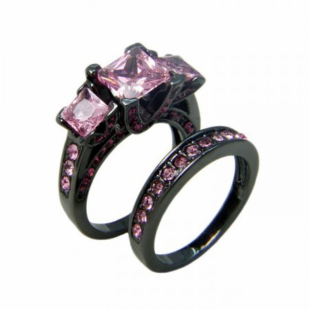 Boutique Black Gold Inlaid Luxury Cubic Zirconia Engagement Ring Sets