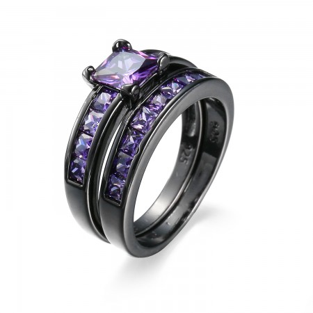 Upscale Black Gold Inlaid Romantic Purple Cubic Zirconia Engagement Ring Sets
