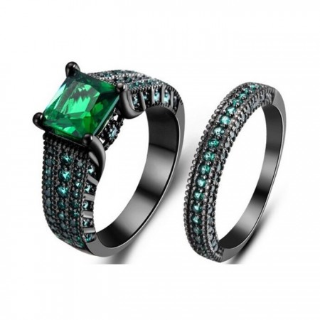 Europe Luxury Black Gold Inlaid Green Square CZ Engagement Ring Sets