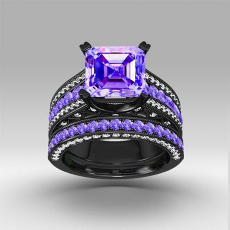 Luxury Exaggerated Black Gold Inlaid Charming Purple CZ Engagement Ring Sets