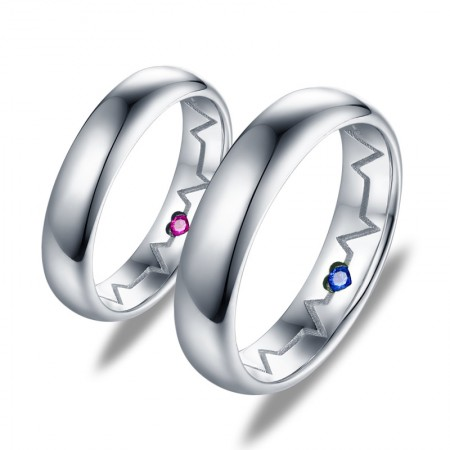 Fashion Simple Love Electrocardiogram S925 Silver Couple Rings