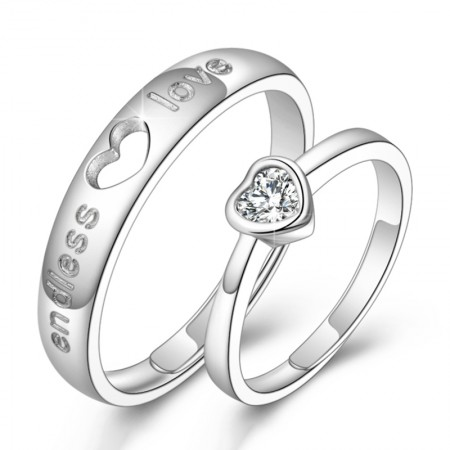 Vows Of Love Endless Love S925 Silver Lettering Opening Couple Rings